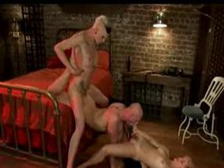 Tattooed tranny fuck couple and cum on their faces in bed