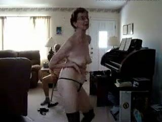 Skinny Granny Performs Striptease For Grandpa Homemade