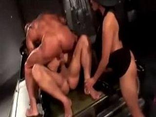 Latex Hard Gangbang in Garage