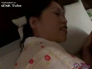 Japanese Mom In Kimono Awakes and Fucks Sleeping Boy Uncensored