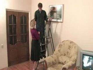 Russian Mom Started much younger Repairman