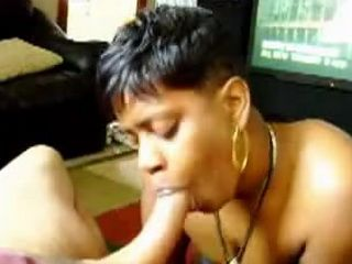 Ebony MILF gives blowjob and swallowing his jizz