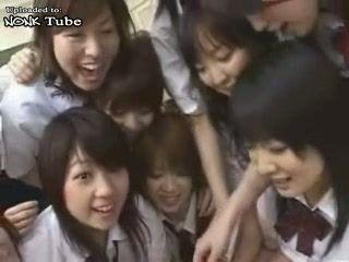 Many Japanese Schoolgirls and Teacher Abusing Their Classmate at School