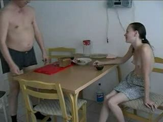 Teen Gets Fucked By Boyfriend's Father Early In The Morning In Kitchen