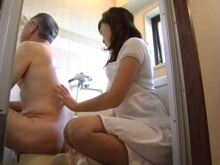 Daughter In Law Eases Lumbago Pain Of Old Father In Law