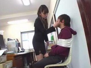 Japanese Secretary Molesting Colleague in Office