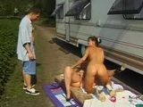 Young Neighbor Catch Naked Lesbian Girls making Love by Camper and Join them