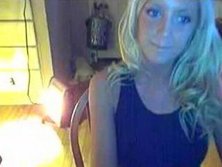 Stunning blonde babe teasing on webcam