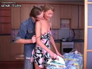 Young Russian Housewife Interrupted While Furbish and Fucked