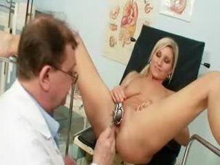 Foxy blond girl Leona vagina gyno checkup