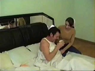 Dad gets Surprise Visit From His Daughters Friend In A Bedroom