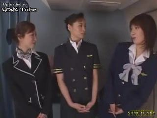 japanese Stewardess Pleasing Passengers With Blowjob and Cum Swallow