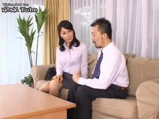 Japanese MILF Seduce and Fuck Husbands Colleague