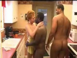 Two Black Guys Fuck Mature Woman In The Kitchen