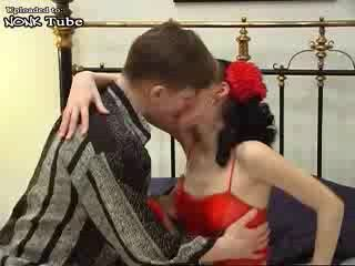Russian Girl In Red Fucked By Her Boyfriend On Parents Bedroom