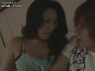 Japanese Mom Sneaks and grabs Young Husbands Cousin For Dick While Boy Was Masturbating