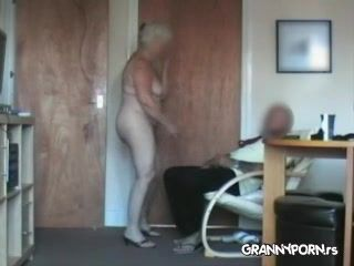 Amateur Granny Doing Strip Dance For Her Grandpa