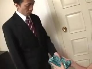 Japanese Girl Gave Him Present And Blowjob For Birthday