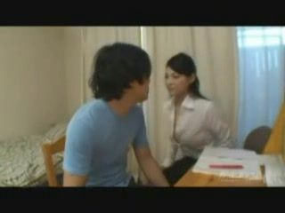 Hot Japanese Mom Helps Husbands Nephew To Study Better