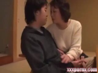 Japanese Mature Aunt Seduce and Fuck Husbands Young Nephew