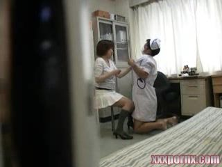 Lunatic Dressed In Nurse Costume Abusing Japanese Female Patients In Doctor Office