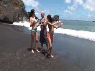 Lesbian Girlfriends And Tatoo Man In Threesome On The Beach