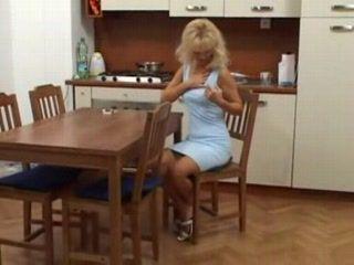 Mature Blonde Lady Masturbate On Kitchen Chare