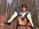 Beauty Pulls Down Her Capris To Do A Piss