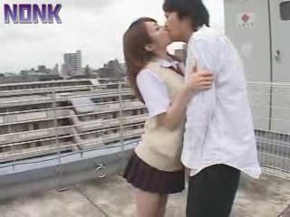 Japanese Teen Giving Head To Classmate and Swallow Cum On School Roof