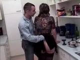Boy Fuck Girlfriend's Mom In Ass In Kitchen