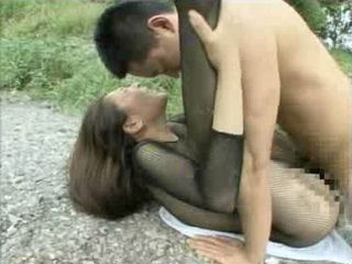 Japanese MILF In Fishnet Gangbanged By Buch Of Guys By The River