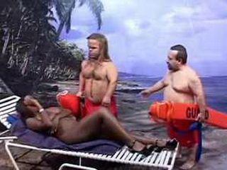 Midget Lifeguards Punish Ebony Lady For Sunbathing Without Swimwear