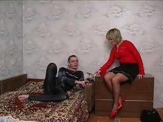 Russian boy fucks mature and girl