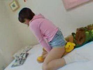 Japanese Teen Humps Teddy Bear In Sisters Room