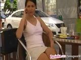 Zuzinka flashing pussy At Coffee Break In Public Restaurant