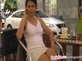 Zuzinka flashing pussy At Coffee Break In Public Restaurant