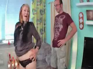 Slutty Granny Fucked and Facialed By Boy