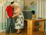 The Russian Granny Teacher Louisa Violates Teen Student Boy In Classroom