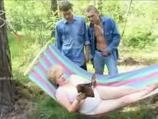 Granny Teacher Gets Gangbanged by Three Boys At Picnic In Forest