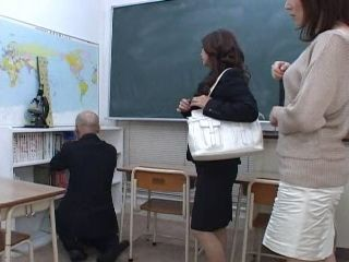 MILF Teachers Abuse Their Newbie Colleague Afterhours In Classroom