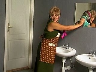 Mature Toilet Cleaner Lady Gets Fucked in Public Toilet