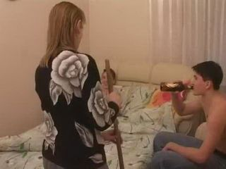 Curious Russian Mom Choose Wrong Time to Clean Teen Boys Room