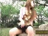 Shy Girl Fucks Dildo In Public Park