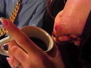 Young Boss gets Milk In Coffee from his Mature Secretary and Got Breastfeeded After