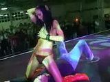 Skinny stripper dildoing pussy