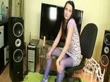 Skinny teen Simona got blue nylon pantyhose and dildo
