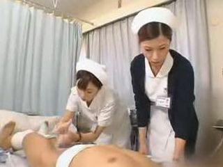Japanese nurse practices her handjob technique