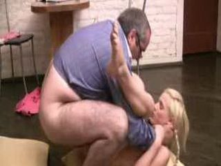 Teacher does his blonde student from behind