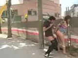 Babe fucked beside construction site while strangers watching