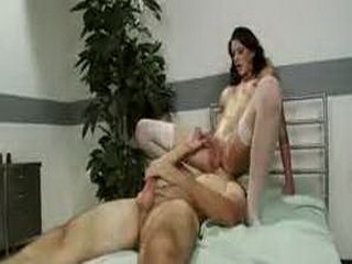 Tranny fucks guy and cums on his face in bed